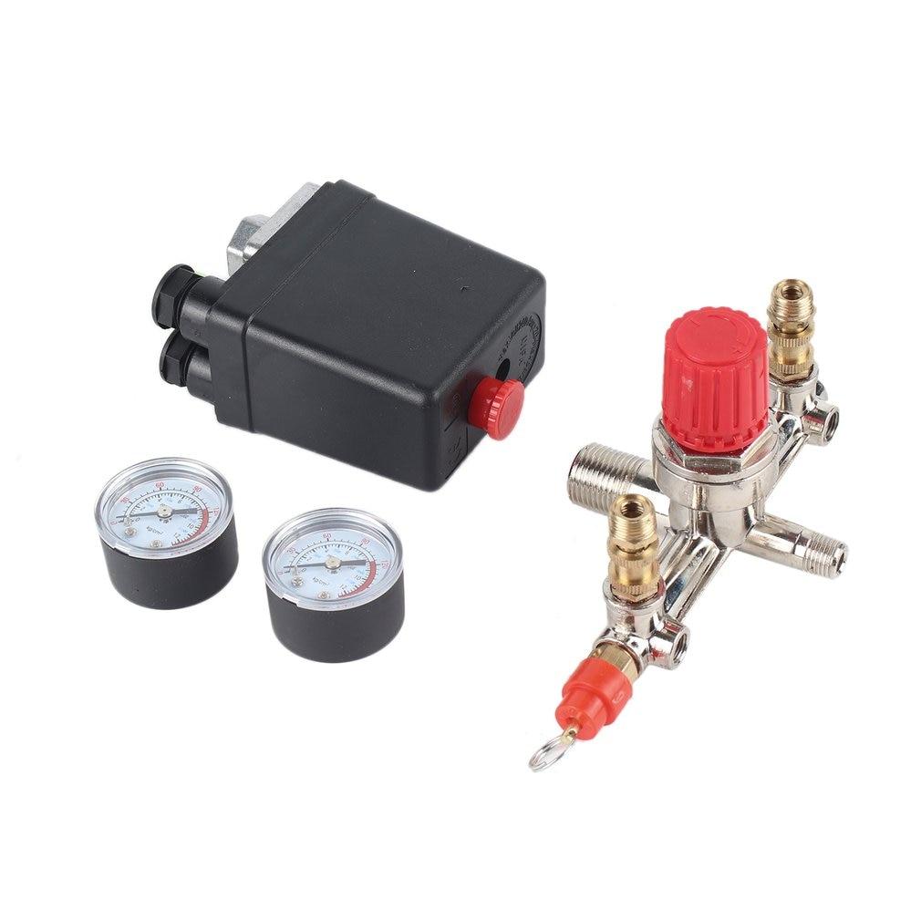 40343 Adjustable Pressure Switch Air Compressor Switch Pressure Regulating with 2 Press Gauges Valve Control Set недорого