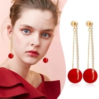 fashion crystal bow knot stud earrings for women pearl cherry flowers rhinestone red earring girls party christmas jewelry gifts