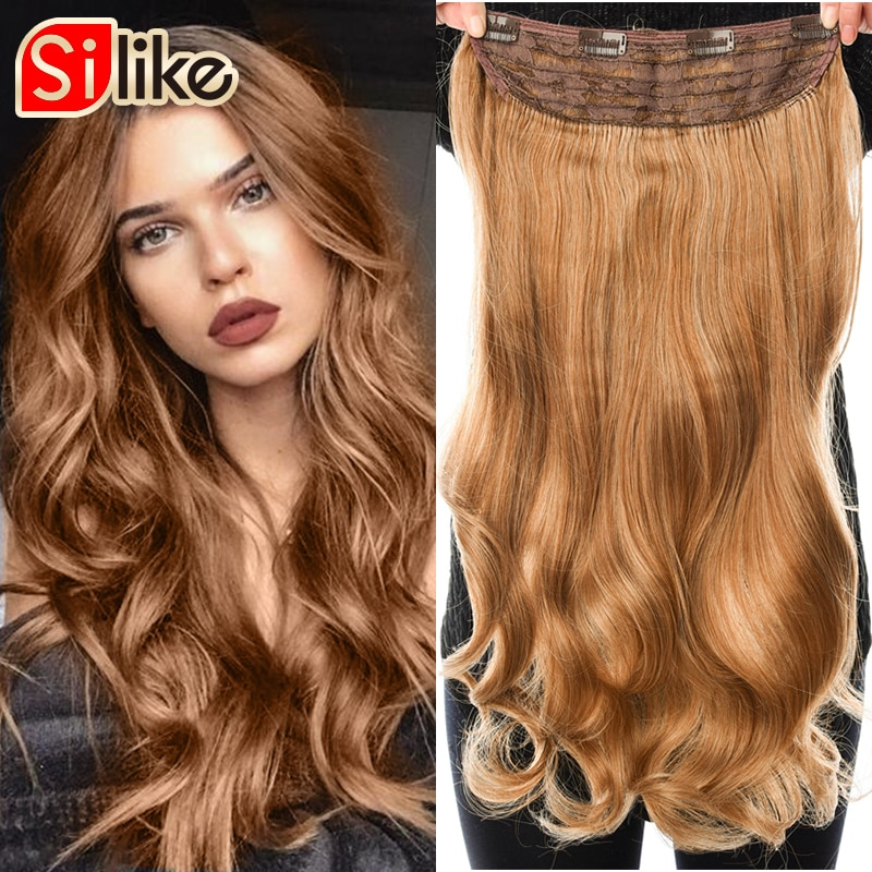 Silike 180g Wavy Clip in One Piece Hair Extensions 24 inch 17 Colors Available Synthetic Heat Resistant Fiber Hair Extension