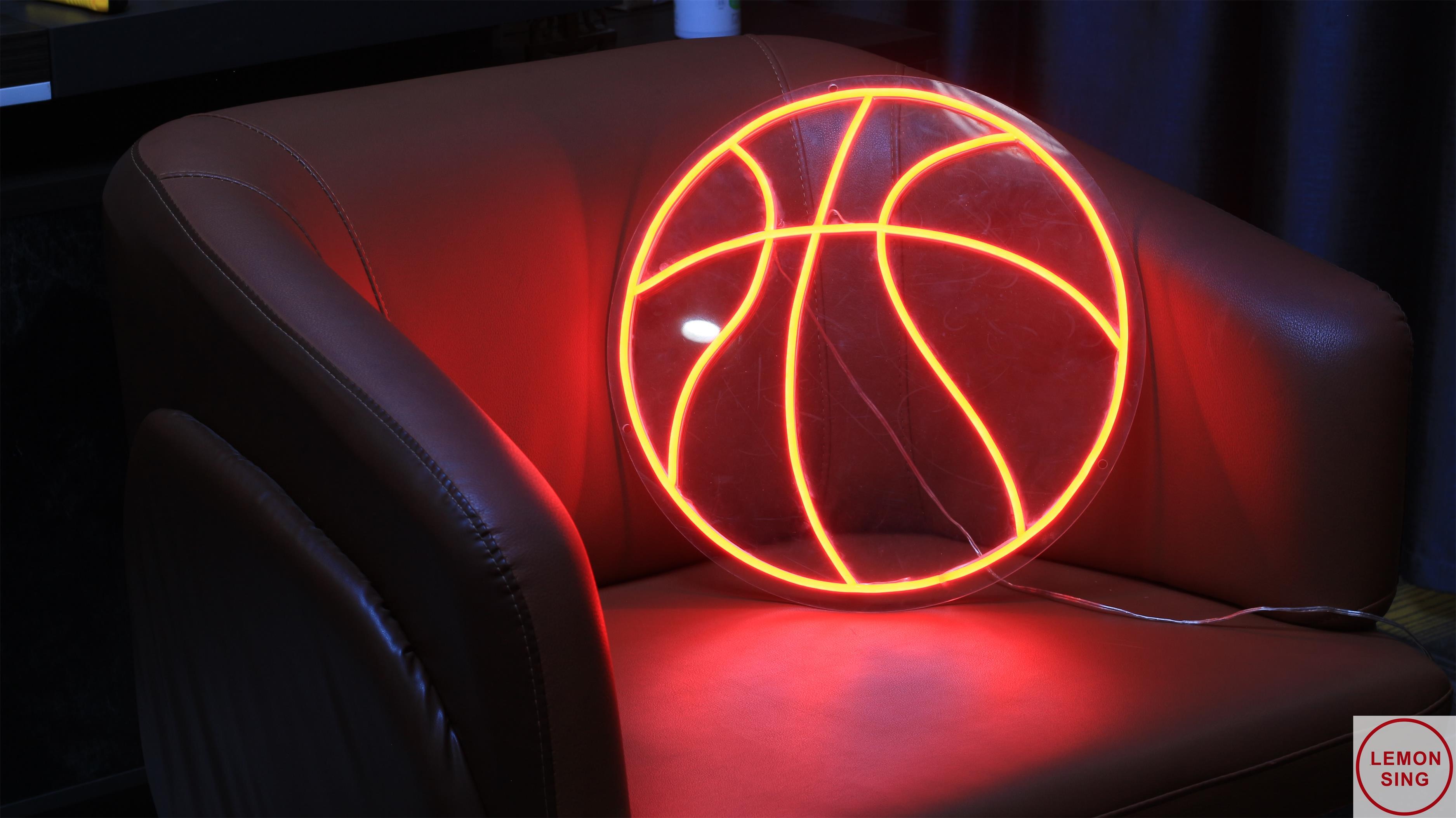مخصص لكرة السلة النيون تسجيل شعار نيون مخصص هدية خاصة بعيد الميلاد الأحمر ضوء LED غرفة المنزل الديكور هدايا بطابع شخصي