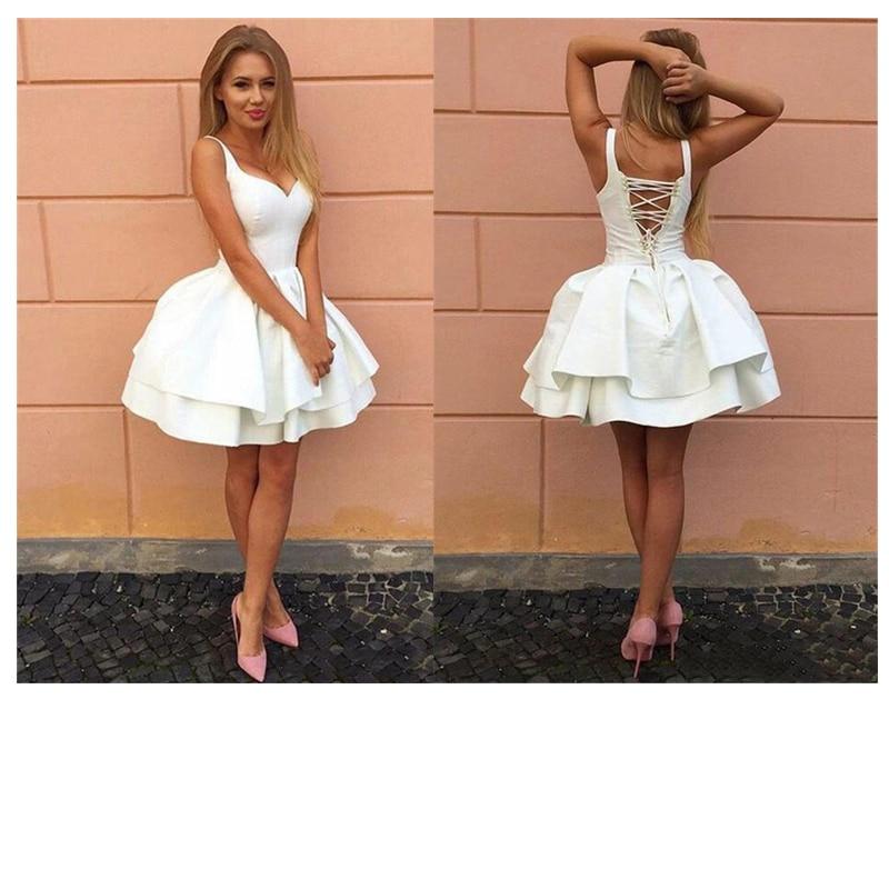 JIERUIZE New White Short Wedding Dresses Deep V Neck Lace Up knee Length Homecoming Dresses robe de soiree