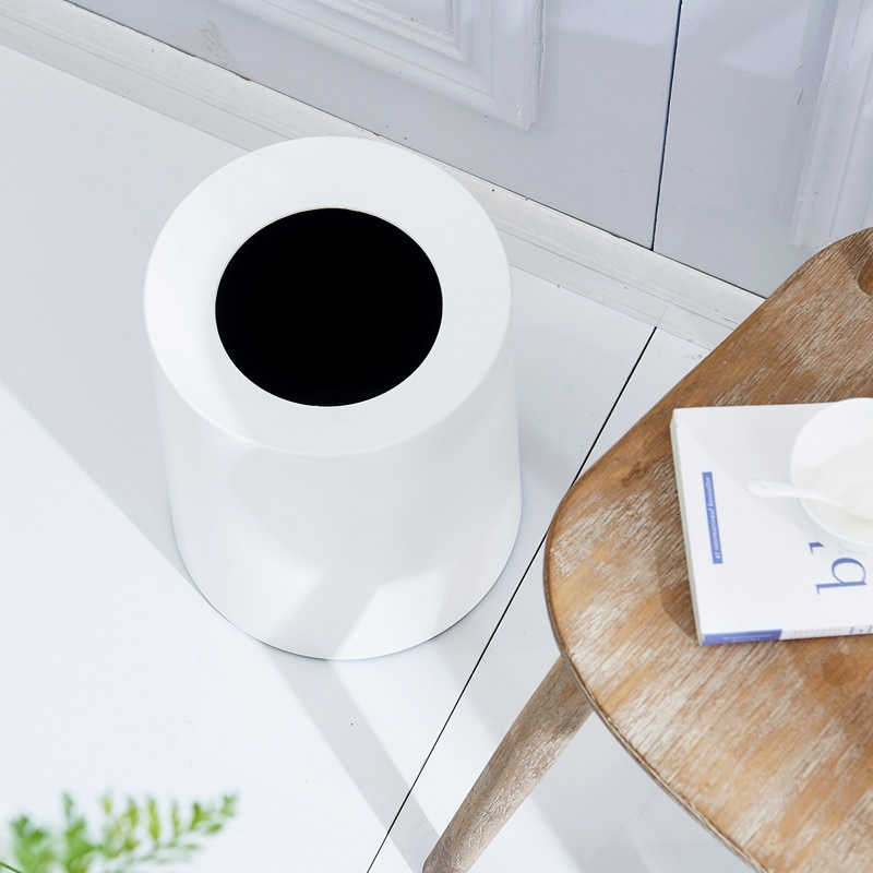 Plastic Large Trash Bin Bedroom Modern Kitchen Toilet Bin Living Room Trash Can Creative Home Cubo Basura Waste Bin DJ60LT enlarge