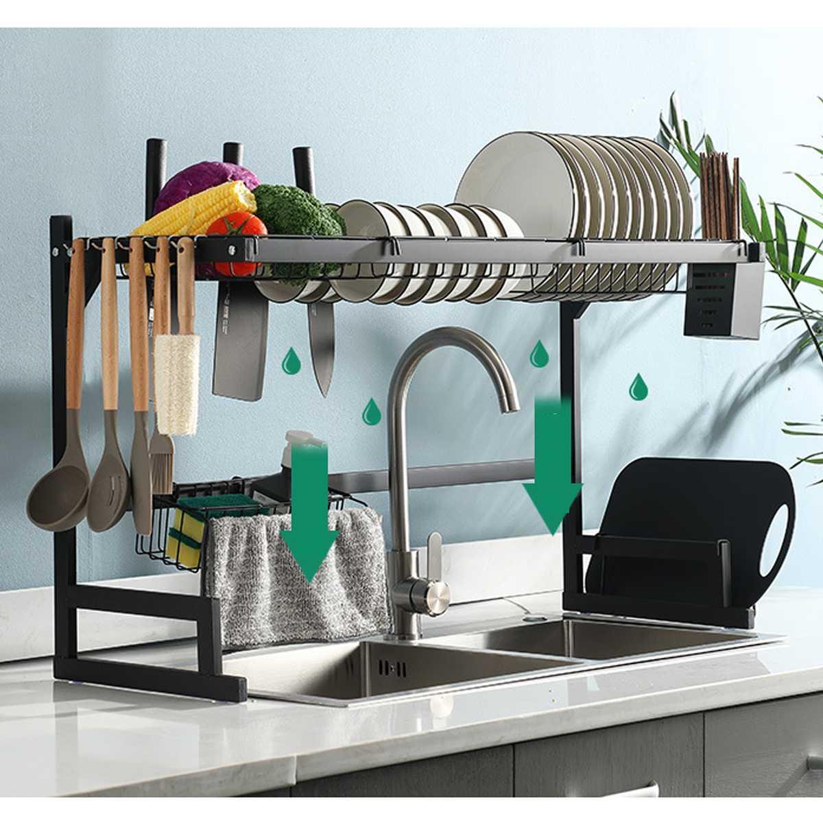 85cm Edelstahl Küche Regal Organizer Gerichte Trocknen Rack Über Waschbecken Abfluss Rack Küche Lagerung Arbeitsplatte Utensilien Halter