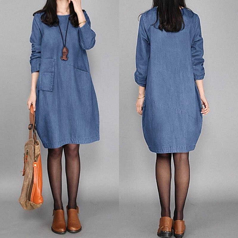 De talla grande mujer vestido azul ZANZEA 2020 Casual elegante vestido de camisa de manga larga Vestidos Mujer botón largo hasta la rodilla túnica