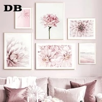 pink flower blooming dahlia palm beach pay phone nordic poster wall art print canvas painting decoration picture for living room