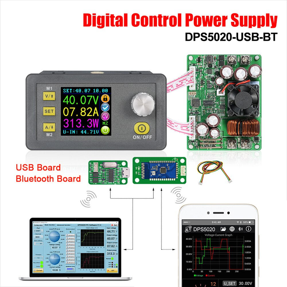 RD DPS5020 50V 20A DC-DC Step-Down Communication Power Supply Buck Voltage Converter LCD Voltmeter CNC Adjustable Regulated
