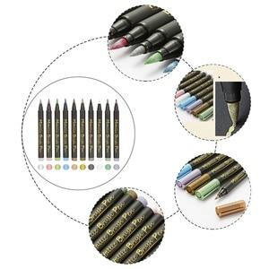 10 Colors Soft-tip Metallic Color Paint Marker Pen Metal Permanent Paint Marker For Paper Ceramics Painting Glass Metal