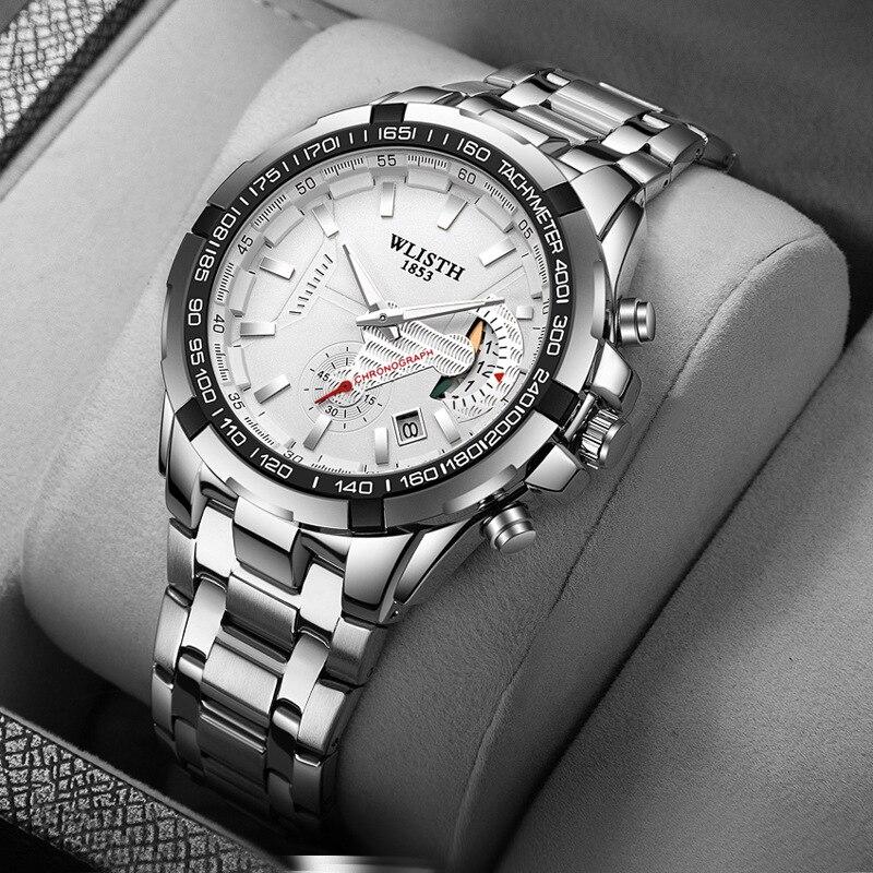 ساعة رجالية من الكوارتز المقاوم للماء ، ساعة رياضية من الفولاذ المقاوم للصدأ ، أصلية ، ماركة فاخرة ، هدية للرجال ، 2021