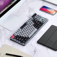 Механическая Проводная клавиатура, 87 клавиш, Bluetooth, 3 режима, подсветка, компьютерная игровая клавиатура