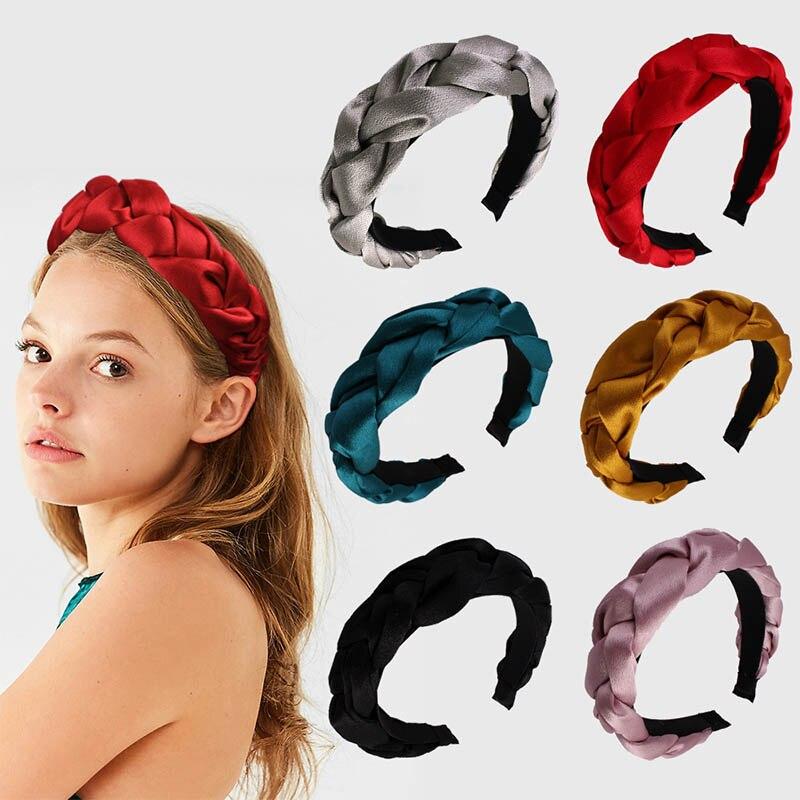 Bandana larga 1 pçs estilo europeu veludo trançado cabelo banda de malha cabeça hoop estilo étnico multicolorido hairband feminino headwear
