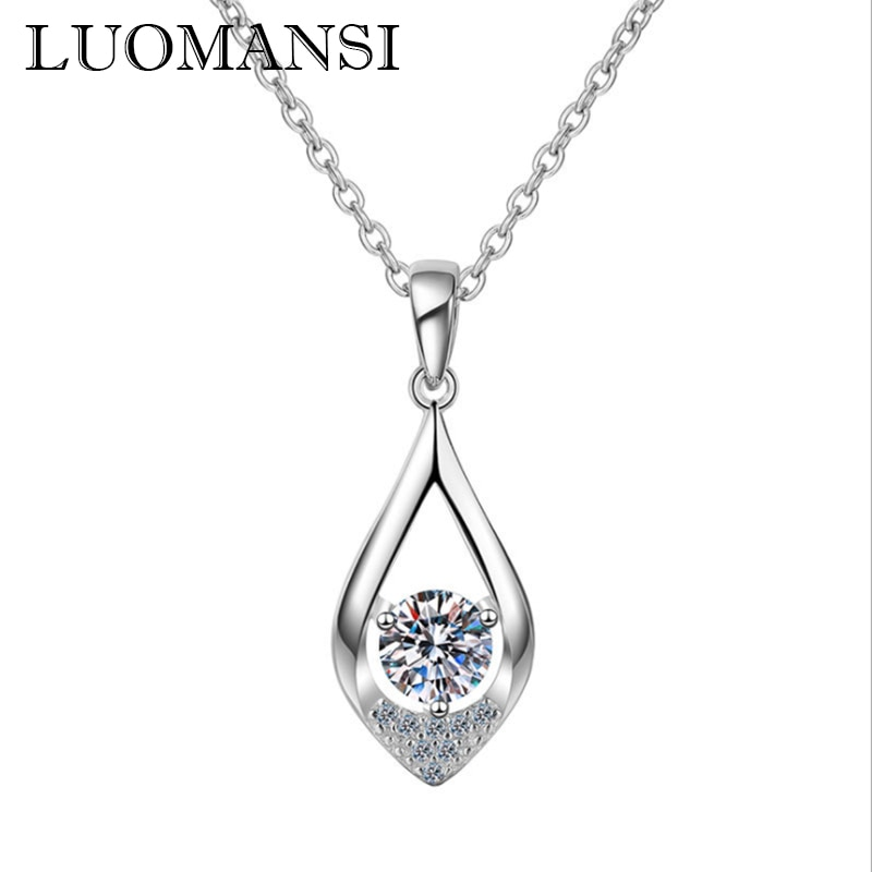 Luomansi 0.5CT 5 مللي متر سوبر فلاش مويسانيتي امرأة قلادة GRA شهادة S925 الفضة غرامة مجوهرات الزفاف هدية عيد ميلاد