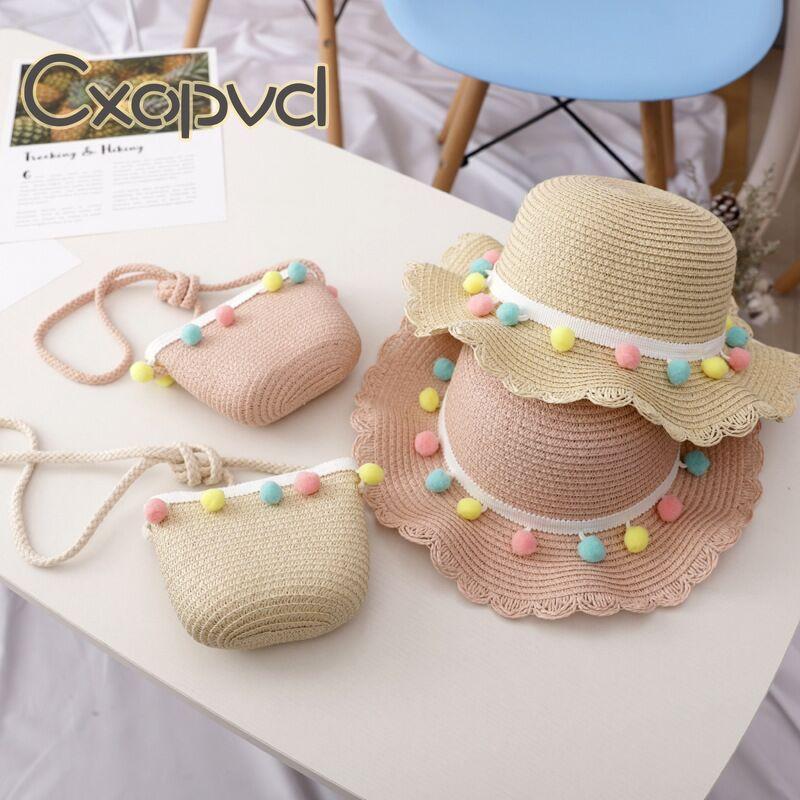Wide Brim Children Straw Hat Beach Cute Hats for Girls Summer Outdoor Activities Straw Hat for Children Girls girls flower decorated straw hat