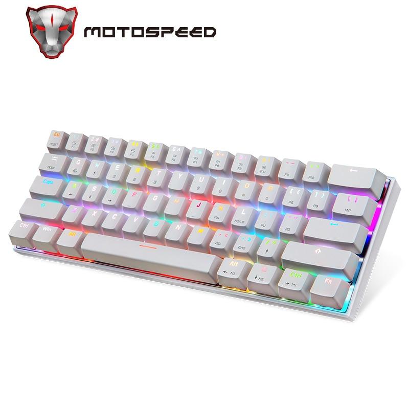 Motospeed CK62-لوحة مفاتيح ميكانيكية سلكية/لاسلكية تعمل بالبلوتوث ، 61 مفتاحًا ، إضاءة خلفية RGB LED ، لوحة مفاتيح ألعاب للكمبيوتر المحمول Win iOS Android