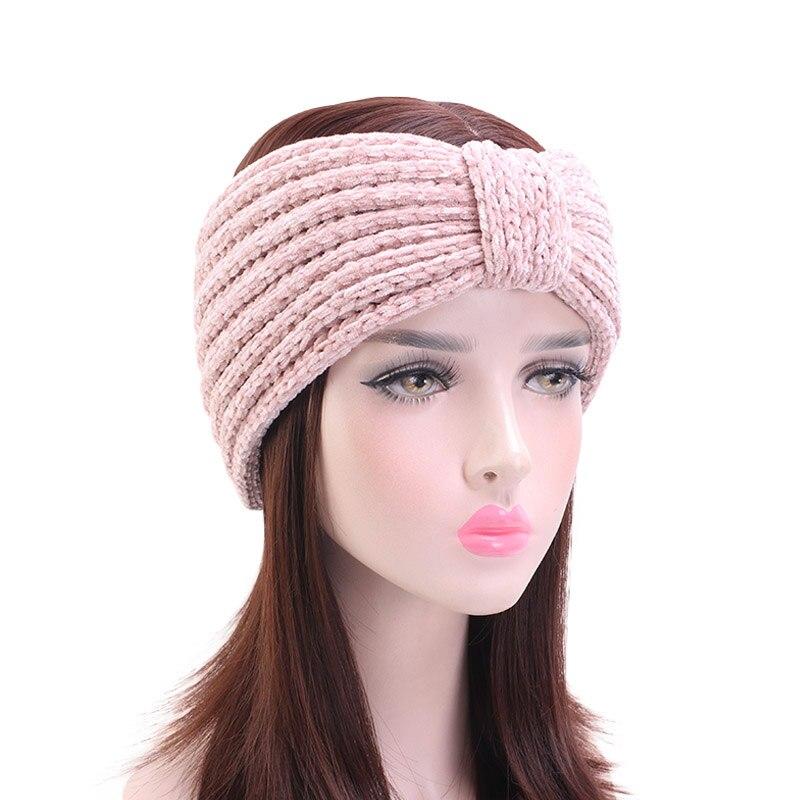 Женская Теплая Зимняя повязка на голову, бархатная вязаная повязка на голову, тюрбан, широкие аксессуары для волос, новая мода 2019