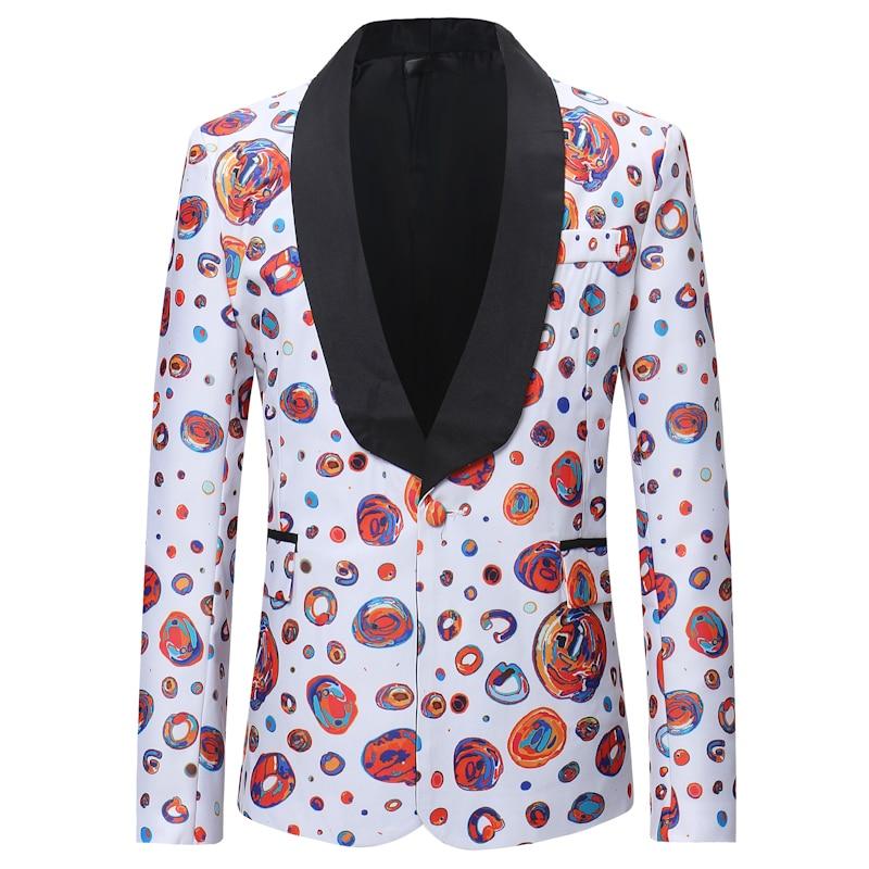 Fashion One Button Dots Print Blazer Jacket Men 2020 Brand Shawl Collar Suit Jackets Mens Party Club
