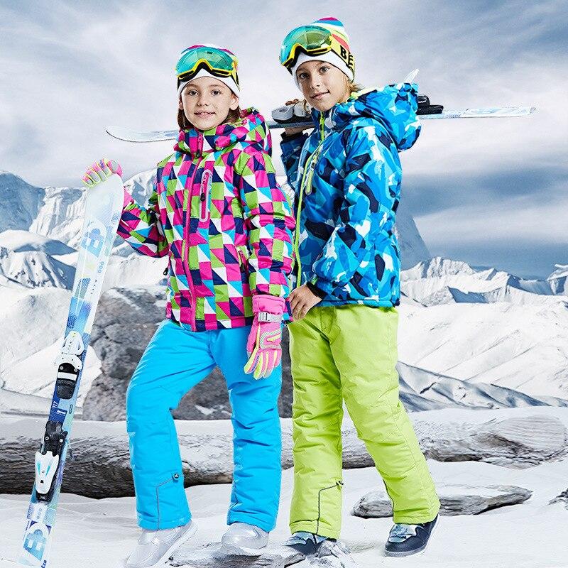 طقم شتوي للأطفال مضاد للماء والرياح, طقم ملابس شتوية للأطفال مقاوم للماء سترة تزلج دافئة للأطفال بدلة تزلج للأولاد والبنات على الجليد CYF075