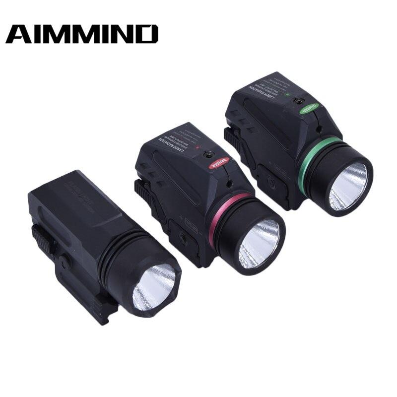 Tactical LED Flashlight Green / Red Laser Sight For 20mm Rail Mini Glock Pistol Gun Light lanterna Airsoft Lig
