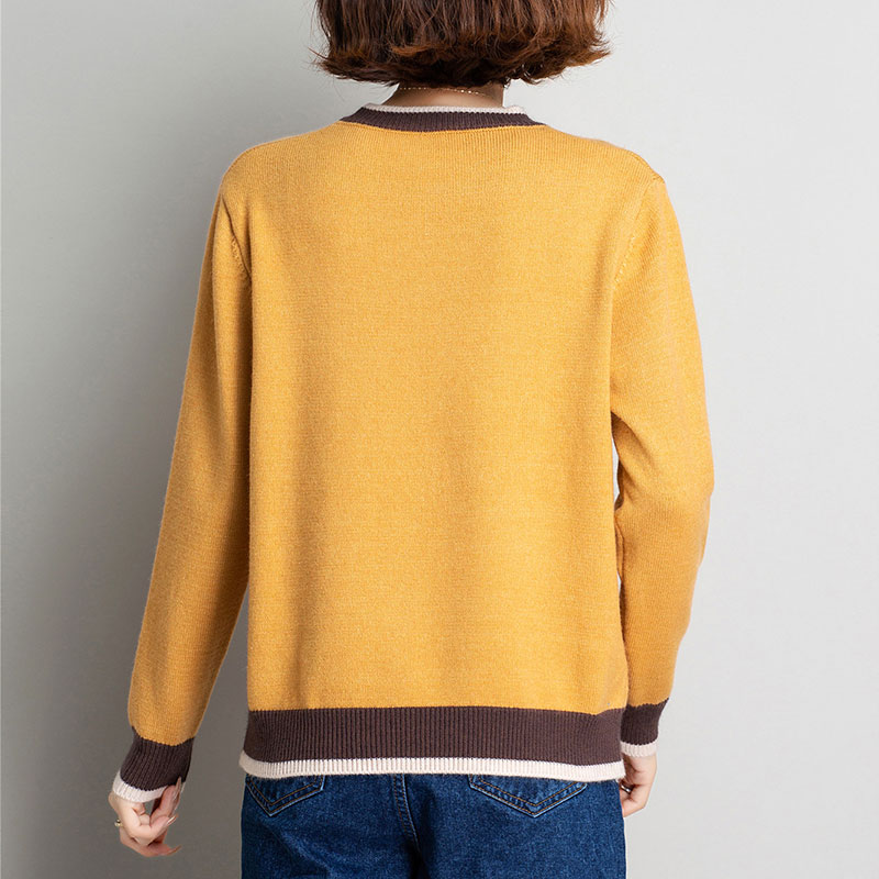 high street fashion Ladies sweater chrismas family 2020 autumn winter contrast color punk jumper blue round collar casual enlarge