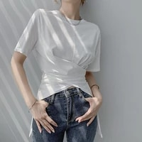 women solid color short sleeve loose summer t shirts high street fashion asymmetrical cross wrap waist tops ladies elegant tees