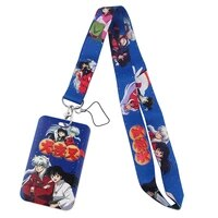 pf383 dongmanli anime lanyard credit id badge holder key rings bag student woman travel bank bus business card cover keychain