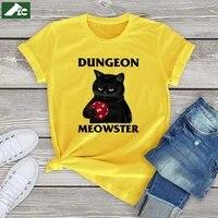 100 cotton black cat vintage t shirt women dungeon meowster t shirt girls kpop clothes black cat game unisex tees mens tops 3xl