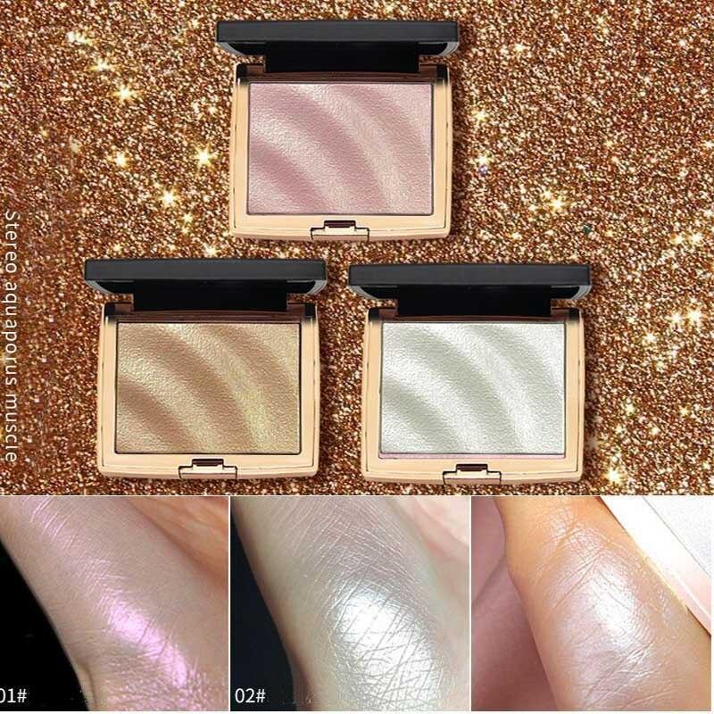 HOJO Glitter Highlighter Holographic Makeup Palette Shimmer Bronzer Highlight Eyeshadow Cosmetics face makeup