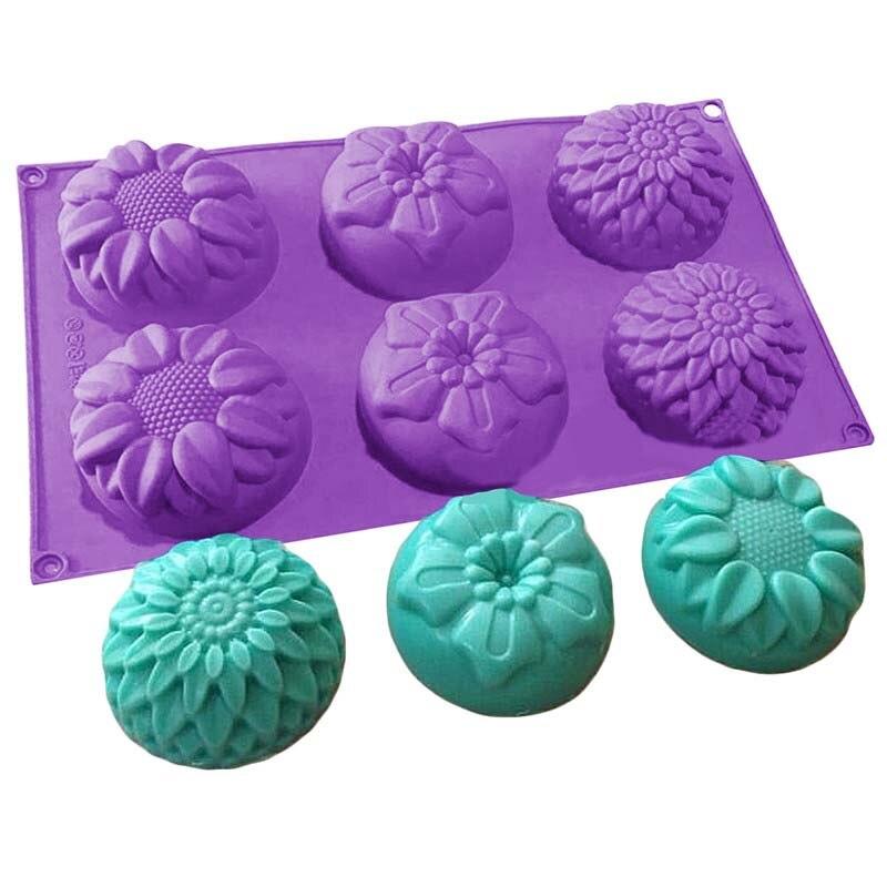 Moldes de jabón pequeños y bonitos con 6 agujeros en forma de flor, molde de silicona para manualidades, moldes de jabón para hornear, velas hechas a mano, moldes para hornear, molde para hornear con flores recicladas