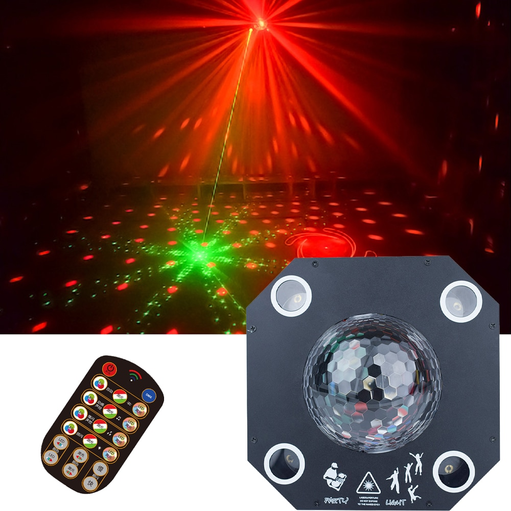 Magic Ball + Laser 2IN1 Laser Light 8X3W RGBW 4IN1 LED Stage Light Disco Dj Effect Party Light For Wedding Birthday Christmas