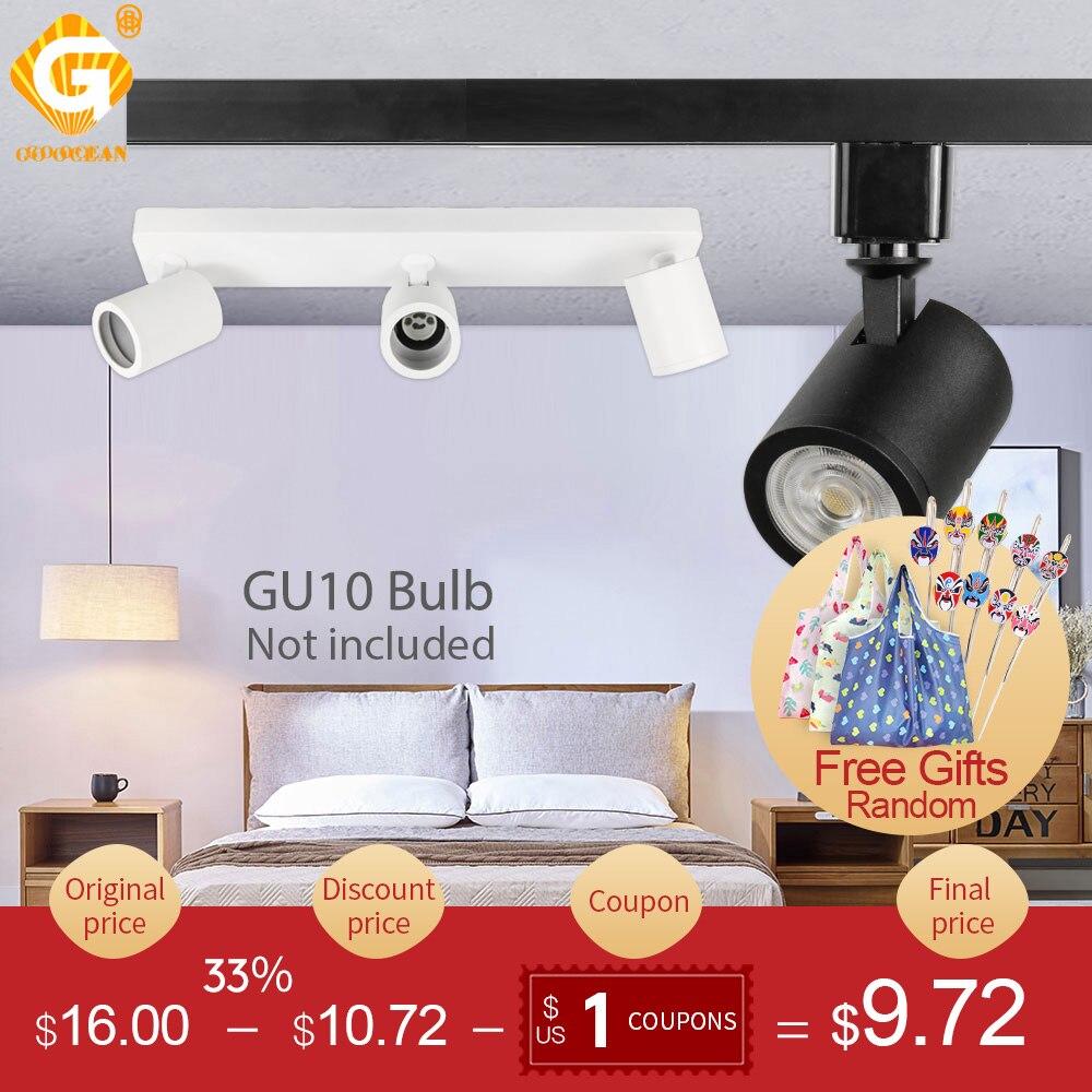 Industrial GU10 LED Track Light Adjustable Fixture Phase Ceiling Spot Rail Lighting Clothes Store Shop Spotlight Lamp Exhibition