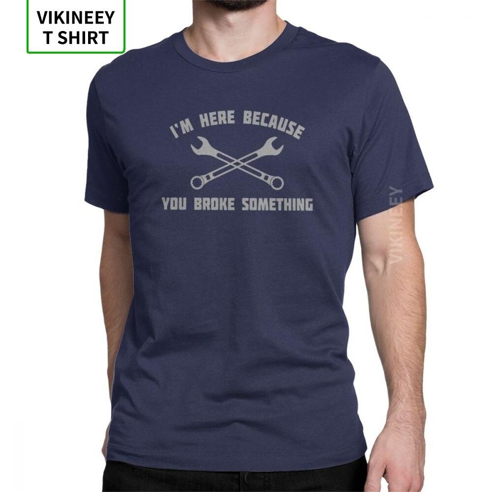 Мужские футболки с механиком, 100% хлопок, новинка, короткий рукав, круглый ворот, футболка с принтом