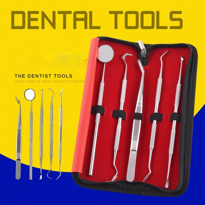 5pc/set Stainless Dental Tool Set With Mirror Sickle Tweezer Hoe Dental Kit Instrument Oral Care Dentist Prepare Tool недорого