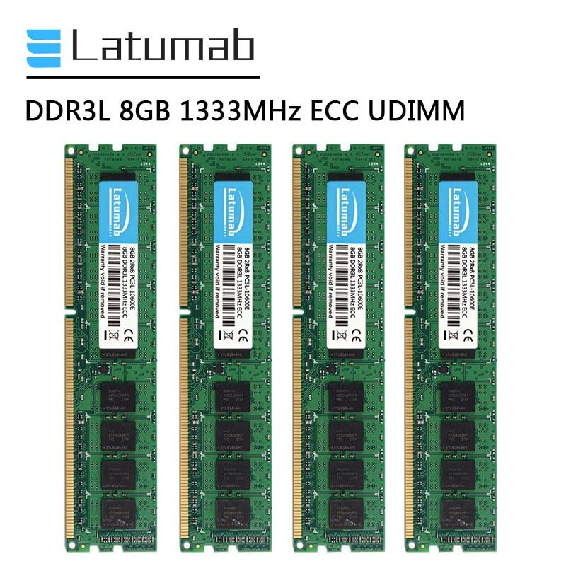 Latumab DDR3L 8 جيجابايت 16 جيجابايت 32 جيجابايت 1333 ميجا هرتز محطة الذاكرة 240Pin ECC UDIMM PC3L-10600E ذاكرة الوصول العشوائي ميموريا DDR3 1.35 فولت ECC غير مخزنة RAM