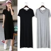 summer large size short sleeved dress female v neck bottoming small black skirt summer was thin modal long skirt 2020 new