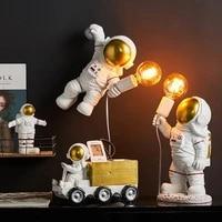 modern astronaut wall light resin desk lamp bedroom lamp nordic children living room decor space man led wall lamp e27