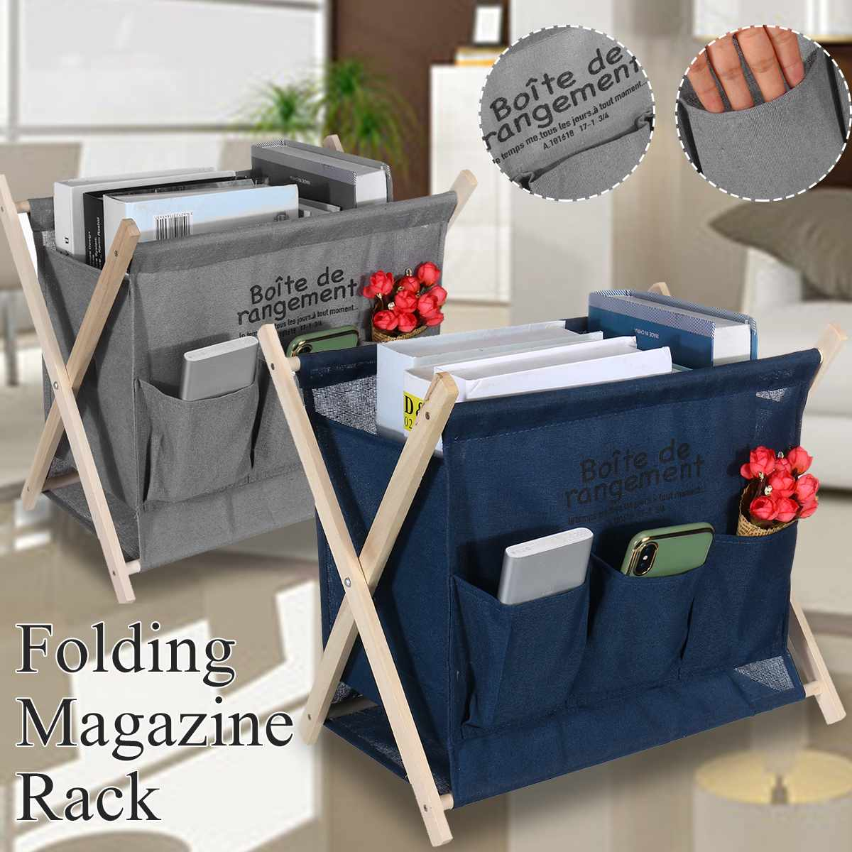 X-shape Foldable Magazine Book Basket Organizer Printed Collapsible 1 Grid Home Laundry Hamper Sorter Laundry Basket