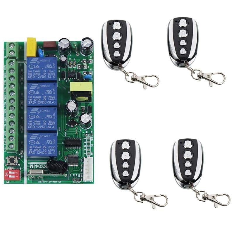 AC110V 220V 230V 4CH Remote Control Garage Door RF Wireless Remote Control Switch System Transmitter+ Receiver