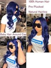 Perruques Lace Front Wig bleu foncé 13x4   Naissance des cheveux pre-plucked, perruque Lace Frontal Wig Body Wave brésilienne avec Baby Hair, nœuds décolorés