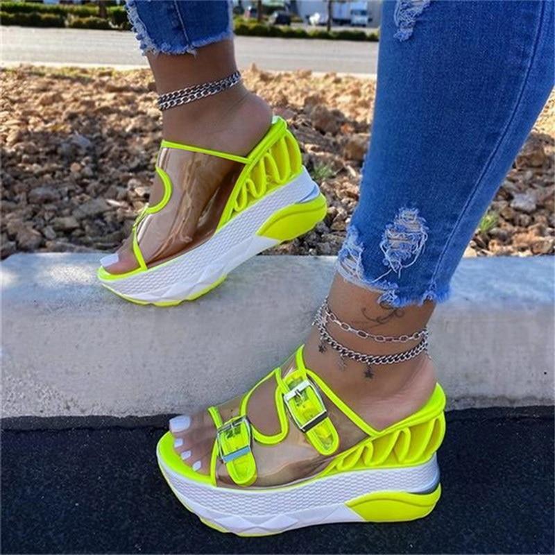 2021 Summer Women Transparent Sandals Ladies Platform Wedges Sandals Fashion Casual Double Buckle Straps Outside Shoes Dropship
