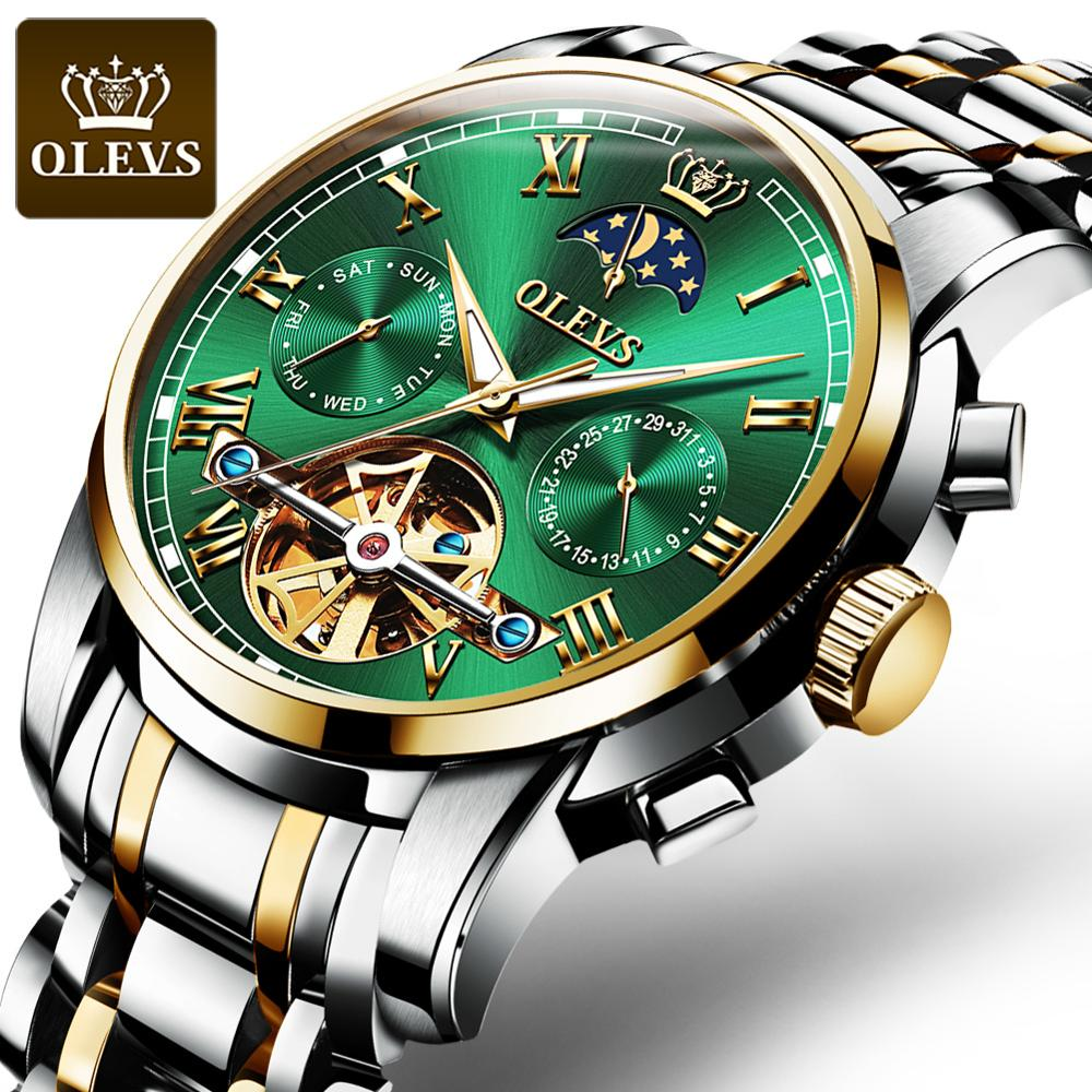 OLEVS Luxury Mens Automatic Mechanical Watches Fashion Moon Phase Luminous Hand Week Display Stainle
