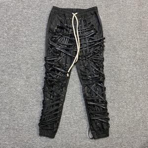 21ss Owen Seak Men Oil wax Denim Jeans Classic Gothic Men's Coated Casual High Street Straight Hip Hop Women Solid Jeans Pants