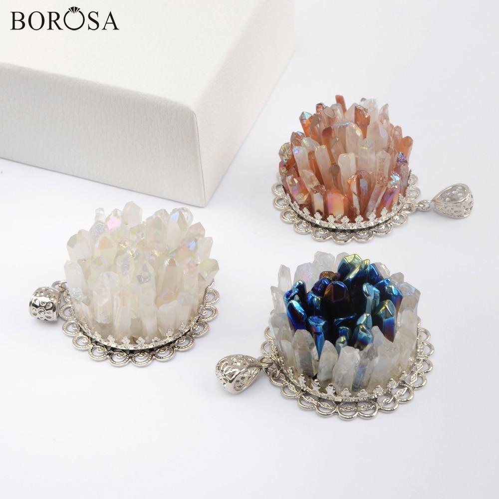 BOROSA Natural Aura cristal racimo dijes colgantes de flores titanio Color plateado AB Druzy de cuarzo Punto de Bohemia joyería de WX1604
