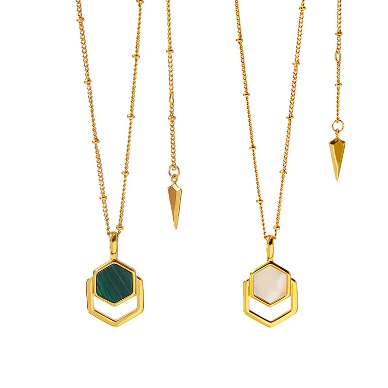 2019 Hot Fashion Brand Luxury Minimal polygon stacked malachite necklace  For Women Designer Jewelry