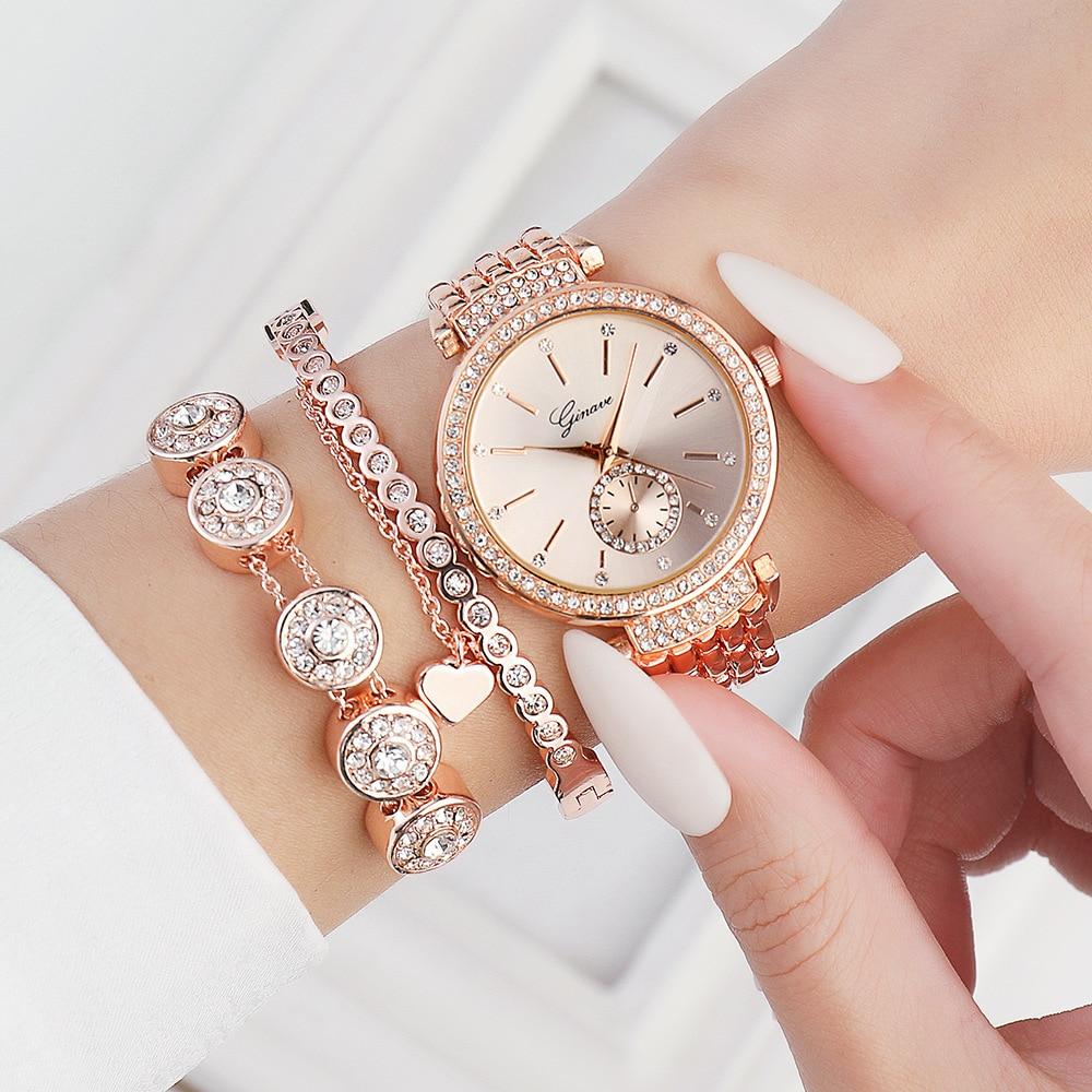 3PCS/Set Women's Watches Woman Ladies Gifts Quartz Bracelet Charm Set Watch For Women Girls Wristwatch Rhinestone Clock Mujer enlarge