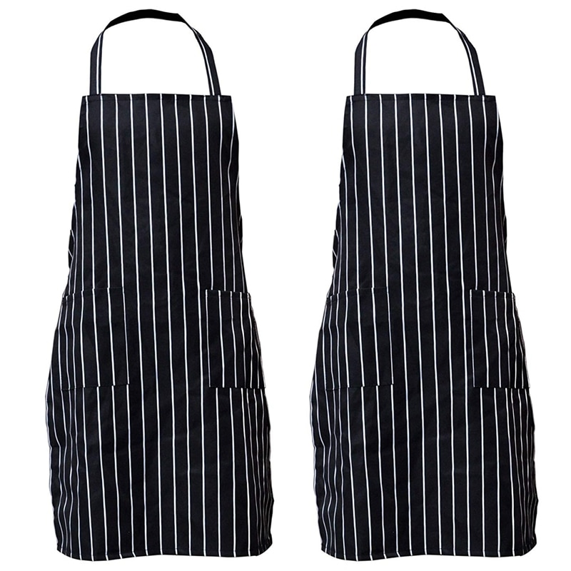 Paquete de 2 baberos de rayas delantal con bolsillos negro cocina Chef delantal regalo para Mujeres Hombres-30,3 pulgadas de longitud por 24 pulgadas de ancho