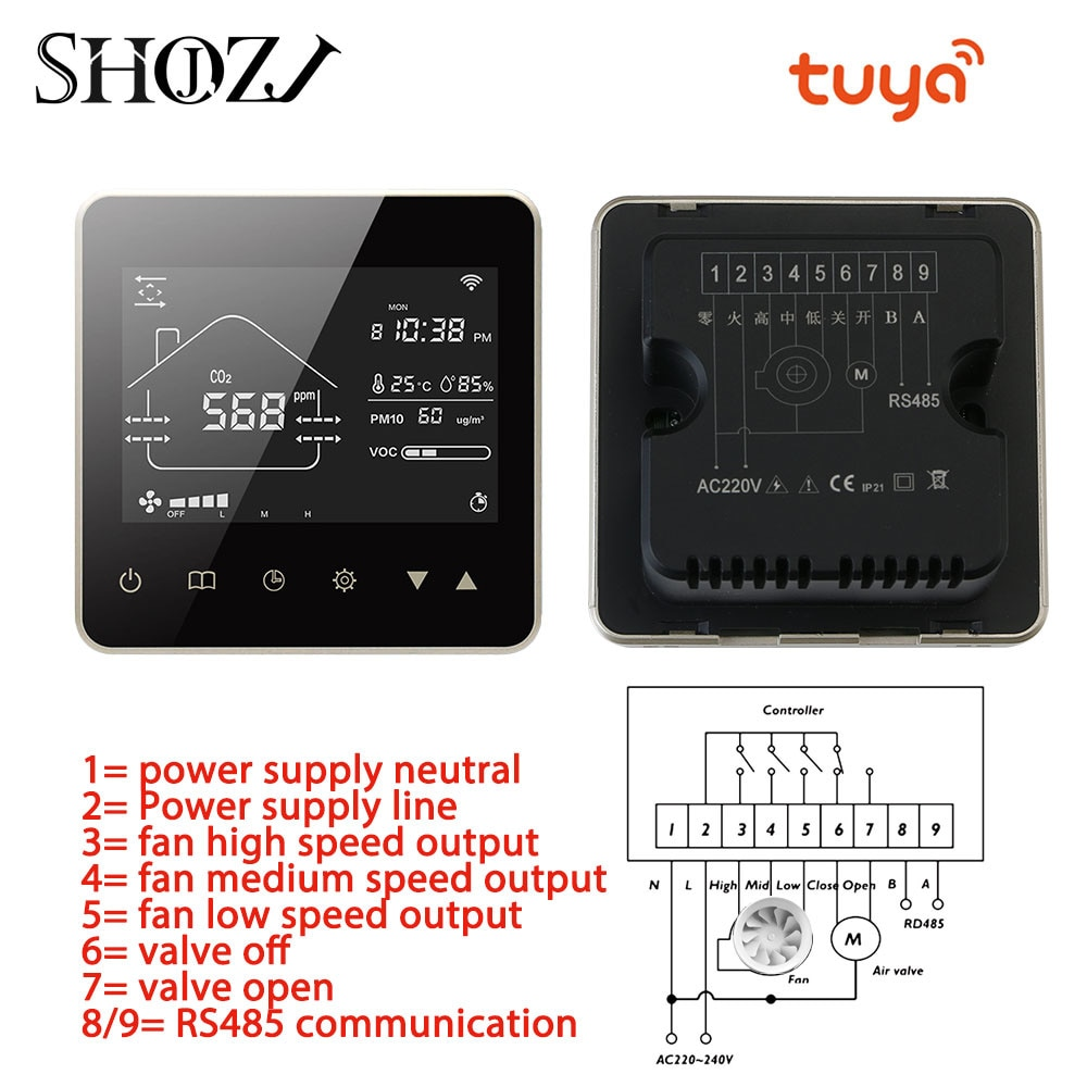 Get Wifi Smart Controller Home Fresh Air System Fan Coil Unit Moisturising Ventilation Controller For Home With CO2 PM2.5 Voc Sensor