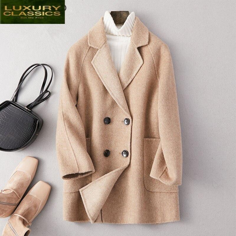 Las mujeres chaqueta elegante invierno Abrigo Mujer 2021 ajustadas coreanas 90% lana...