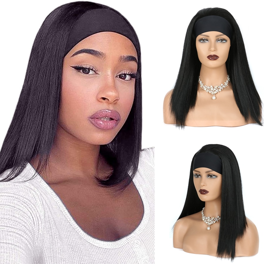 Synthetic Yaki Kinkly Straight Headband Wigs For Black Women Postiche Cheveux Afro Natural Headband Wigs with Bangs
