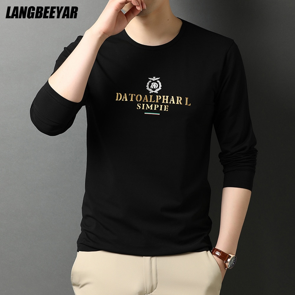 2021 Top Quality Designer Luxury Men t Shirt Round Neck New Fashion Brand Slim Fit Long Sleeve Tops Casual Men Clothes