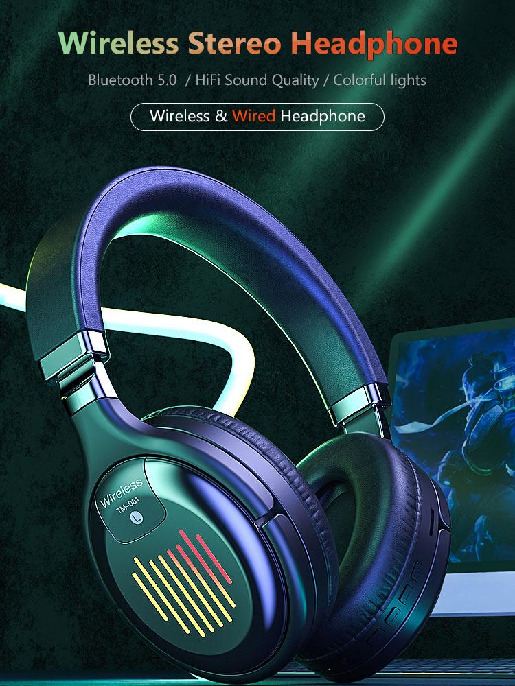 سماعة رأس لاسلكية سماعة رأس بخاصية البلوتوث مطوية Hifi ستيريو الألعاب سماعة دعم FM بطاقة SD سماعة للكمبيوتر والهاتف المحمول