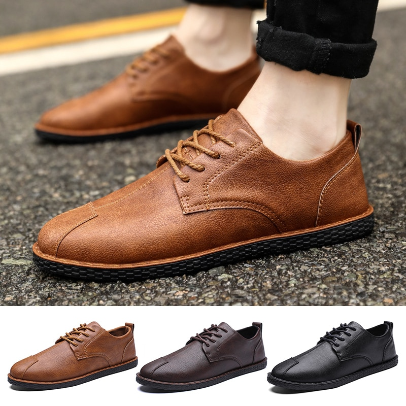 Hot Men Casual PU Leather Shoes Comfortable Fashion Flat Shoes Lace Up Driving Shoes for Spring Autu